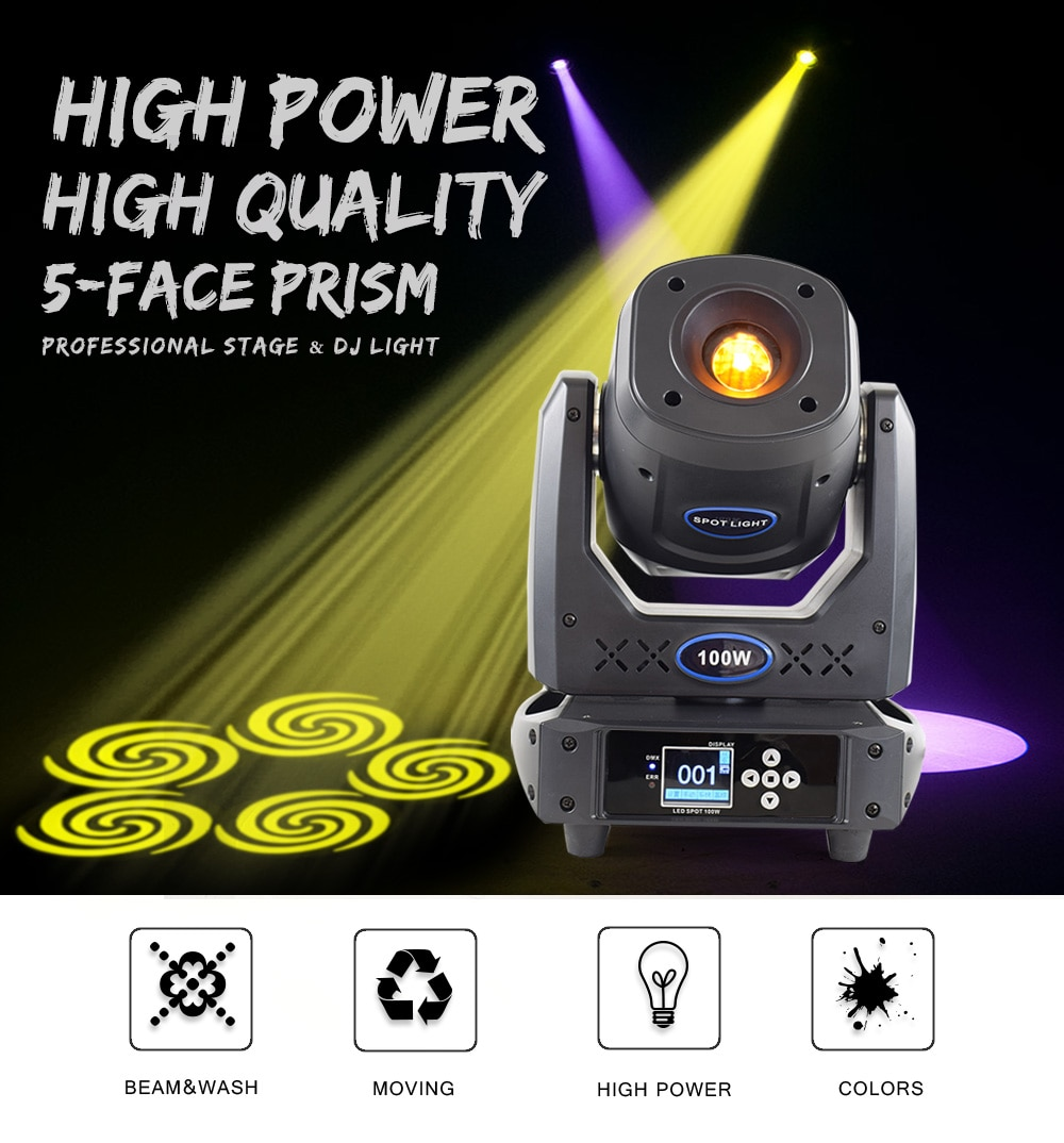 DJ Spot Lights 100W Moving Head LED Gobo Projector And Rotat Prism DMX Stage Mobile Lamp With Flight Case For Disco Wedding Show