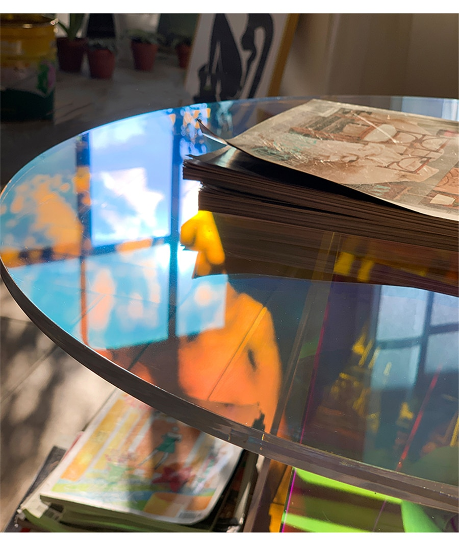 Color Acrylic Coffee Tables Round Transparent Side Table Living Room Decor Furniture Modern Luxury Bedroom  Simple Bedside Table