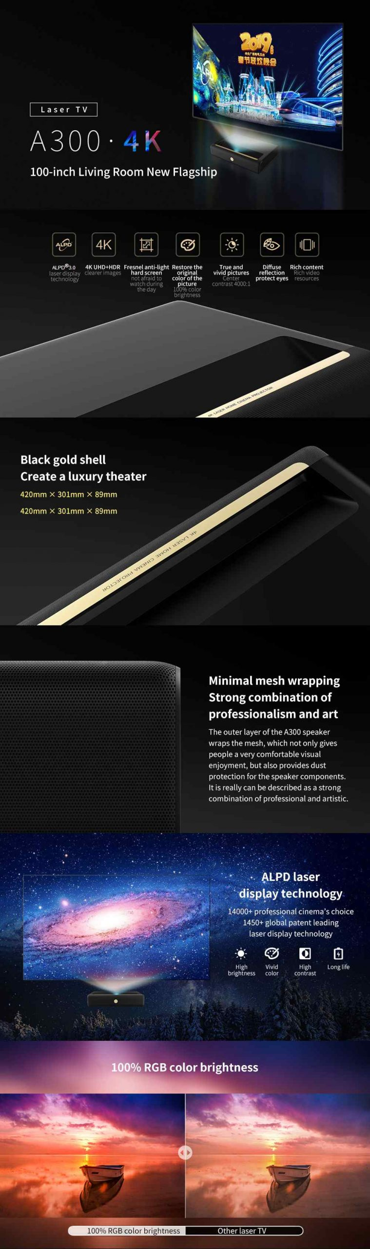 4K Ultra Short Throw Laser Projector 9000 ANSI Lumens 4000:1 Contrast Ratio Support HDR Voice Control Cinema Theater Projector