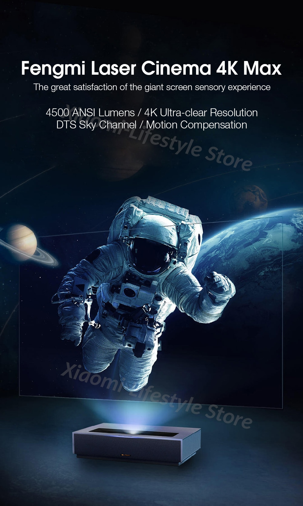 Youpin Fengmi Laser Projection Home Theater 4K Max ALPD 3.0 4500ANSI Lumens Projector TV Beamer Cinema Dolby DTS Virtual:X FAA