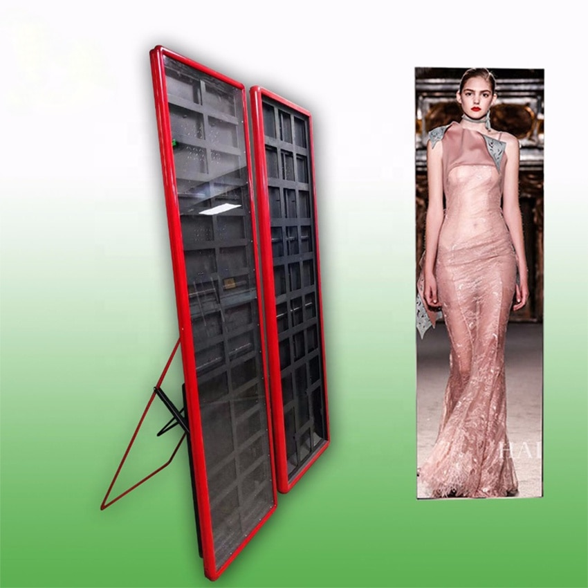 P3 High Resolution Indoor Ultra Thin Digital Advertising Mirror Floor Standing LED Display Video Board LED Poster Display Screen