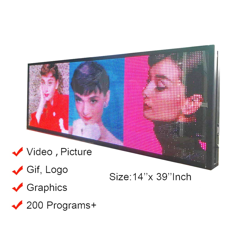 """Ultra Bright 5500Nits Outdoor LED USB RGB Color 39""""x14"""" P5 For Store Display Scrolling Messages Electronic Sign Free Design Ads"""