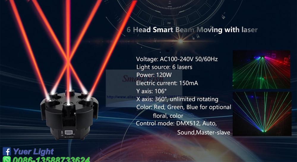 Smart 6 Heads Moving Head Beam Laser Light RGB Floral Color Laser Light Projector Unlimited Rotating Patry Disco DJ Laser Lights