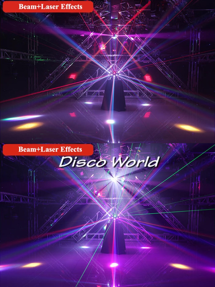 18x10w RGBW 4in1 LED Beam Moving Head Light 3 Heads Beam with RGB Laser Stage Lighting Projector DMX DJ Disco Xmas Party Lights
