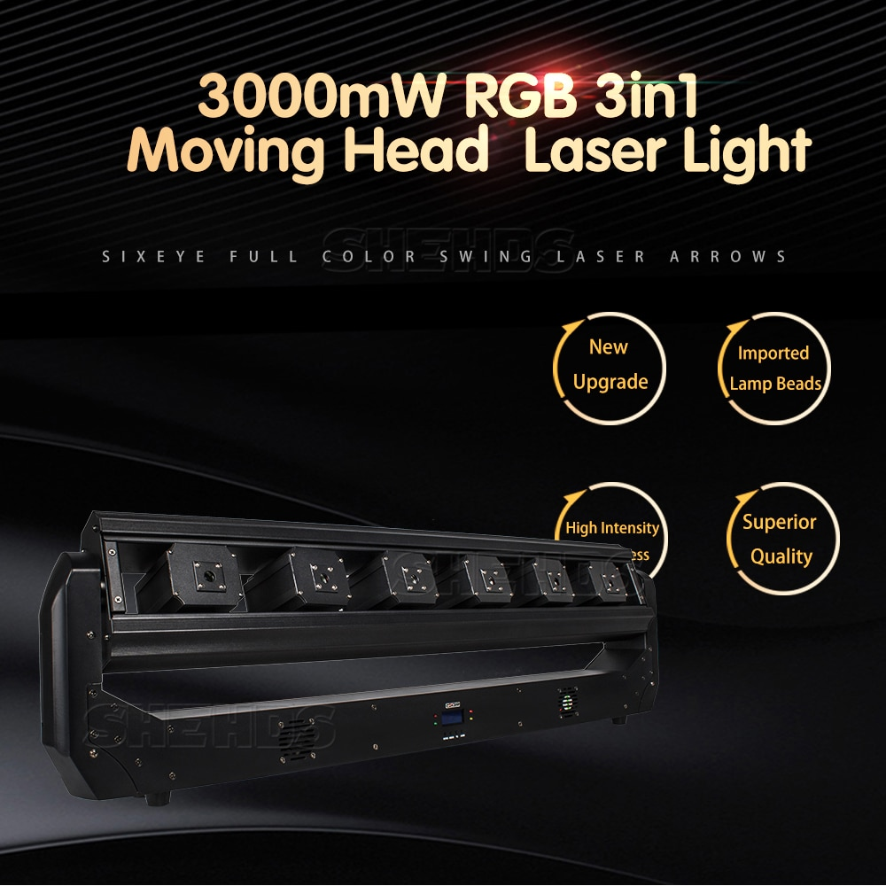 2pcs Laser Light Projector Six Eyes 3in1 RGB troboscopic Effect LED Beam Sense  with DMX Controler Good for DJ Stage