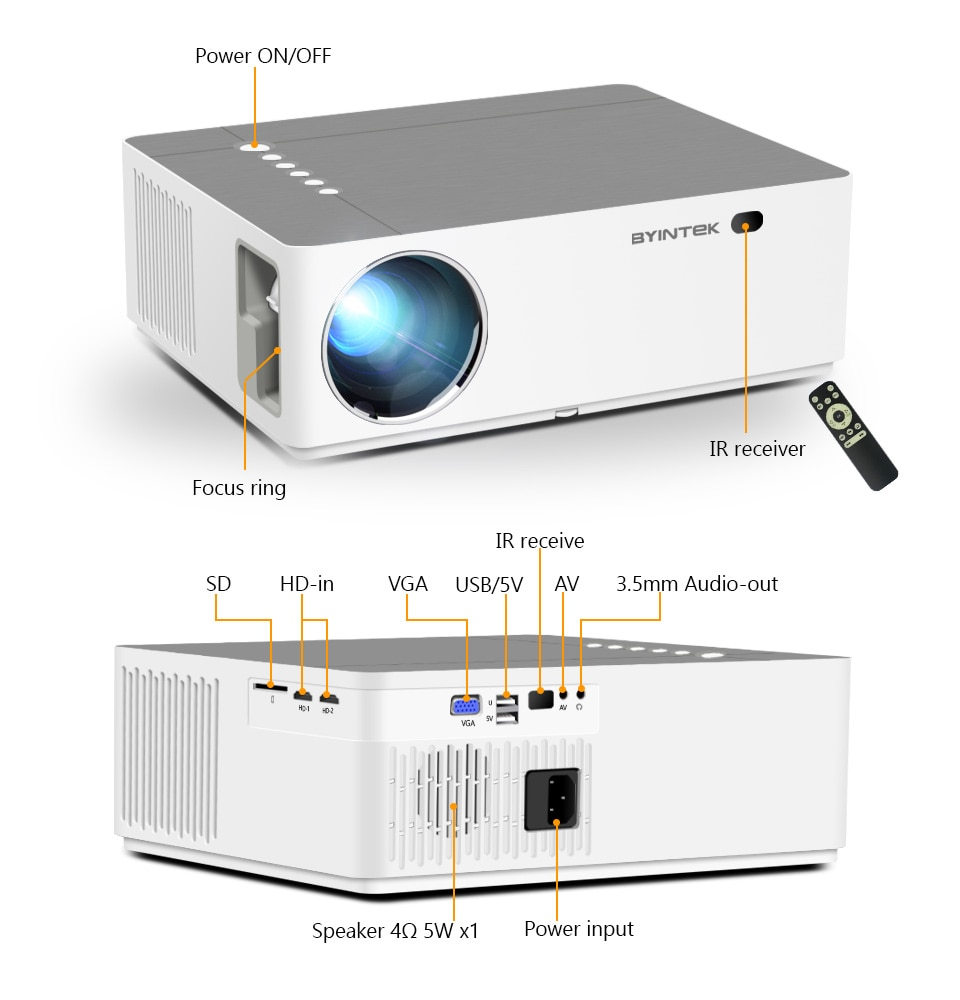 BYINTEK K20 Full HD 4K 3D 1920x1080p Android Wifi LED Video lAsEr Home Theater Projector Beamer for Smartphone Tablet PC Cinema