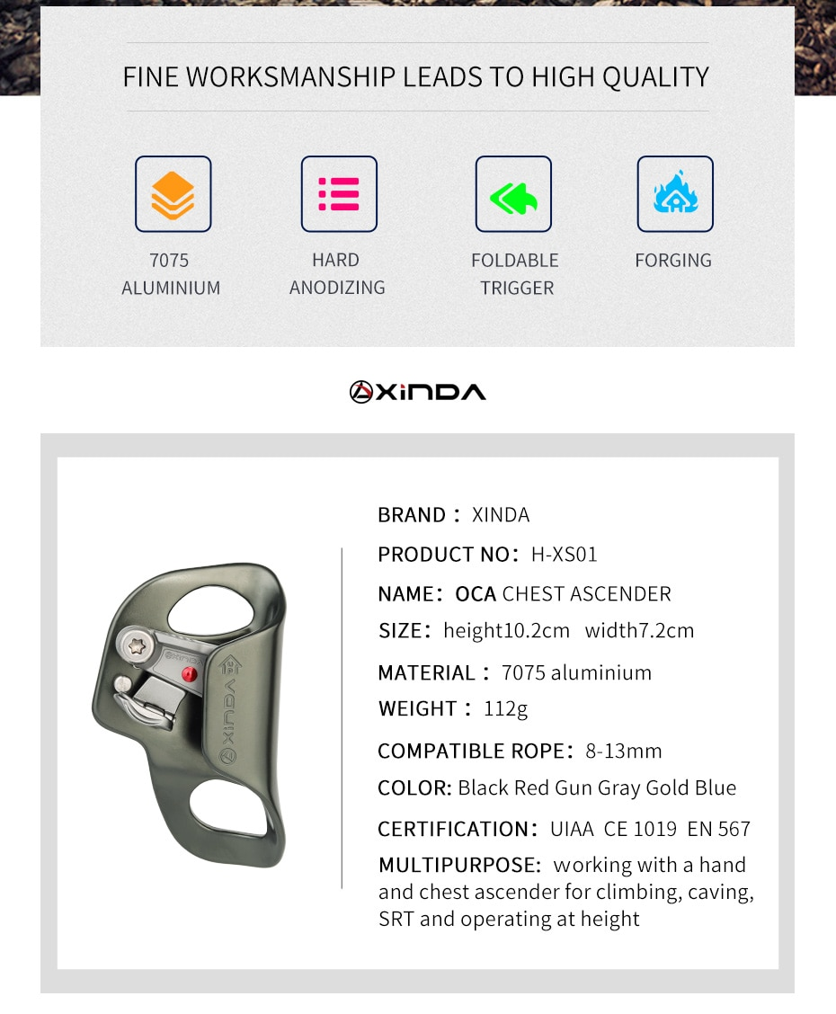 XINDA Outdoor Camping Rock Climbing Chest Ascender Safety Rope Ascending Anti Fall Off Survival foldable trigger Climb Equipment
