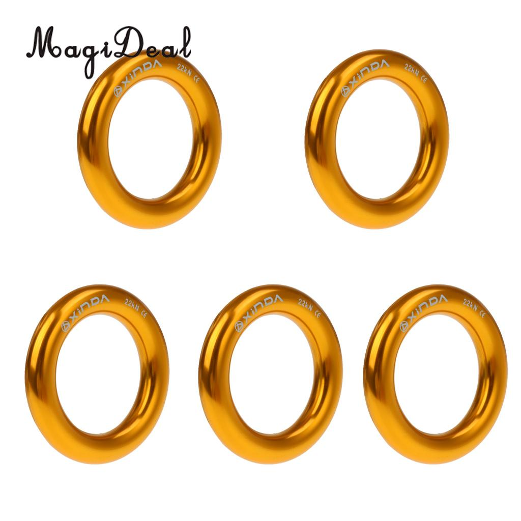 MagiDeal 5 Pieces 22KN Rock Climbing Rescue Rappel Ring Bail-Out Connector Large for Mountaineering Caving Camping Rigging