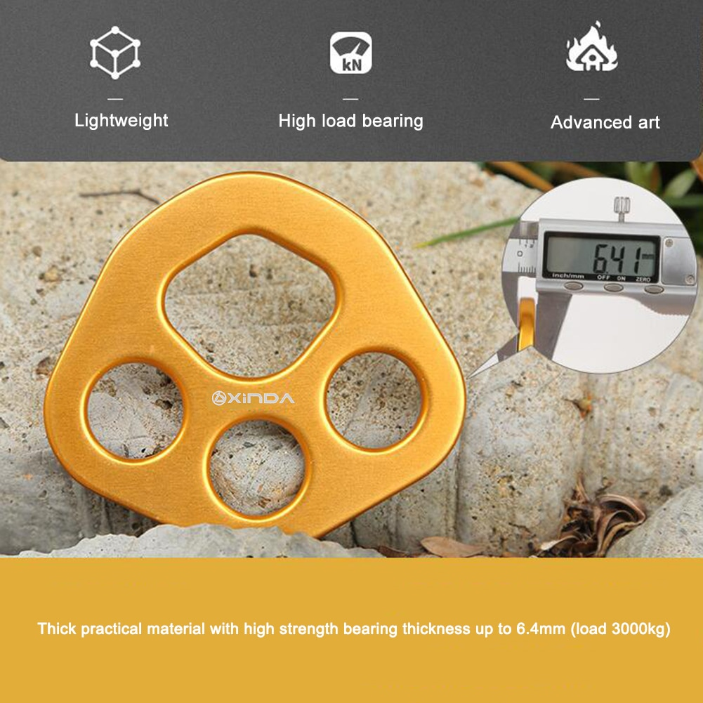 Xinda 30kN Outdoor rigging Multi Anchor Split Divide Rope 4-Hole Force Plate Load-Bearing Rope Rock Mountain Climbing Equipment