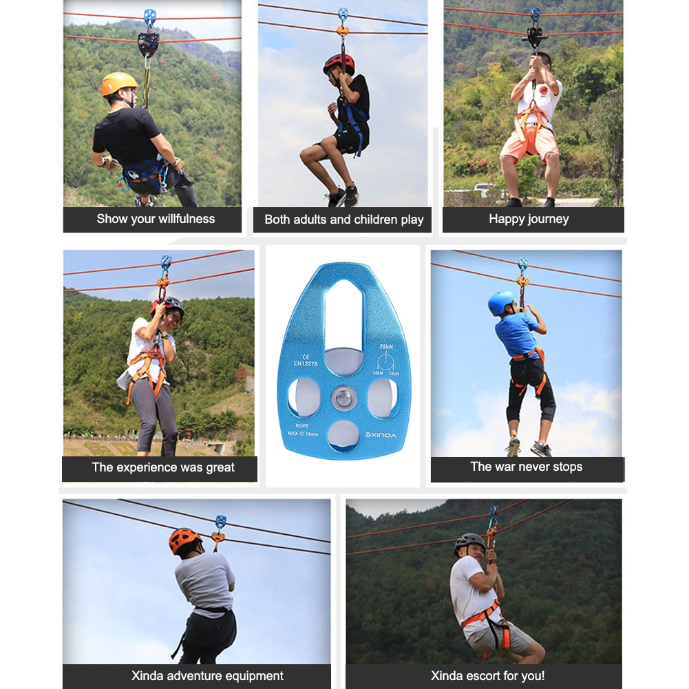 Climbing Fixed Rope Pulley 28kn Aluminum Alloy Outdoor Bearing Lifting Equipment Camping Portable Outdoor Elements