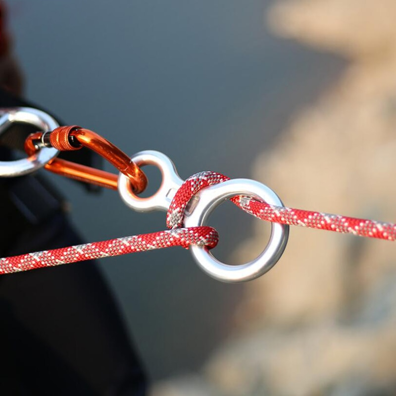 Climbing Carabine 8shape Rigging Descender Aluminum Figure Belay Device Abseiling 35KN Eight Ring Downhill Equipment