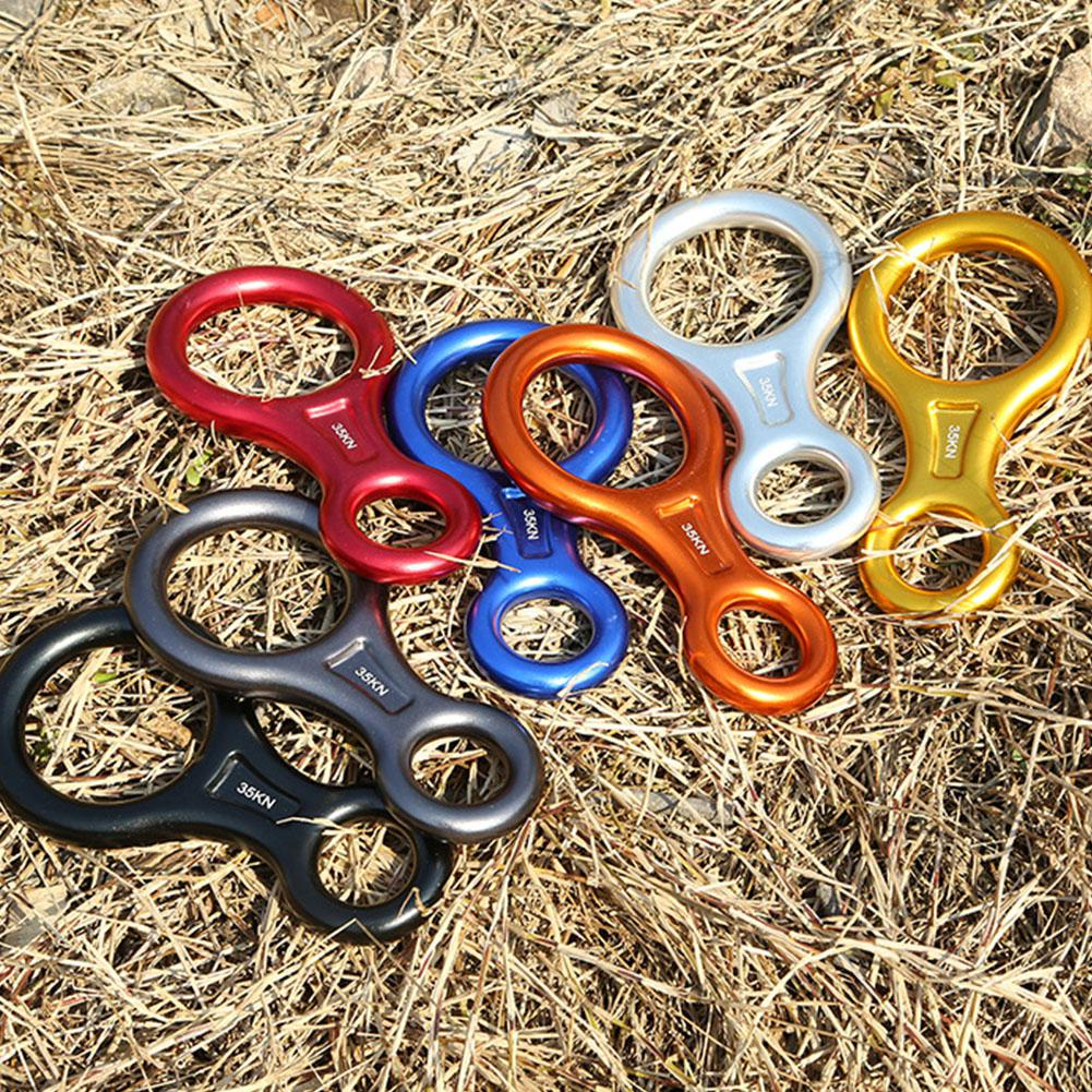 Rock Climbing Descender 35KN Figure 8 Word Rope Descender Rappel Ring Downhill Eight Ring Rappelling Gear Belay Device Equipment