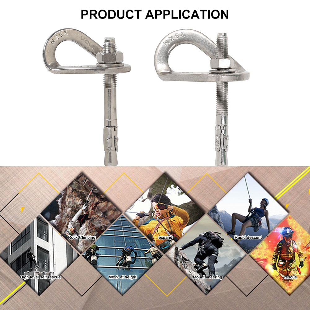 Stainless Steel Outdoor Rock Climbing Safety Expansion Nail Equipment Hanger Rock Climb Fastening Bolt Fixed Point Screw