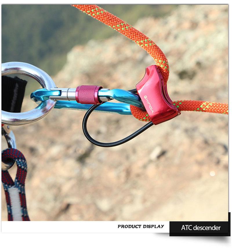 XINDA 2000KG Hiking Descent Control Device Outdoor Climbing Rigging Descender  Descent Device ATC Protector Rappelling Equipment