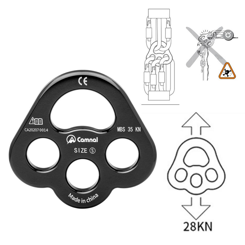 4 Holes Paw Rigging Plate Rope Separator Device Outdoor Rock Climbing Multi Anchor Point Connector Gear Equipment