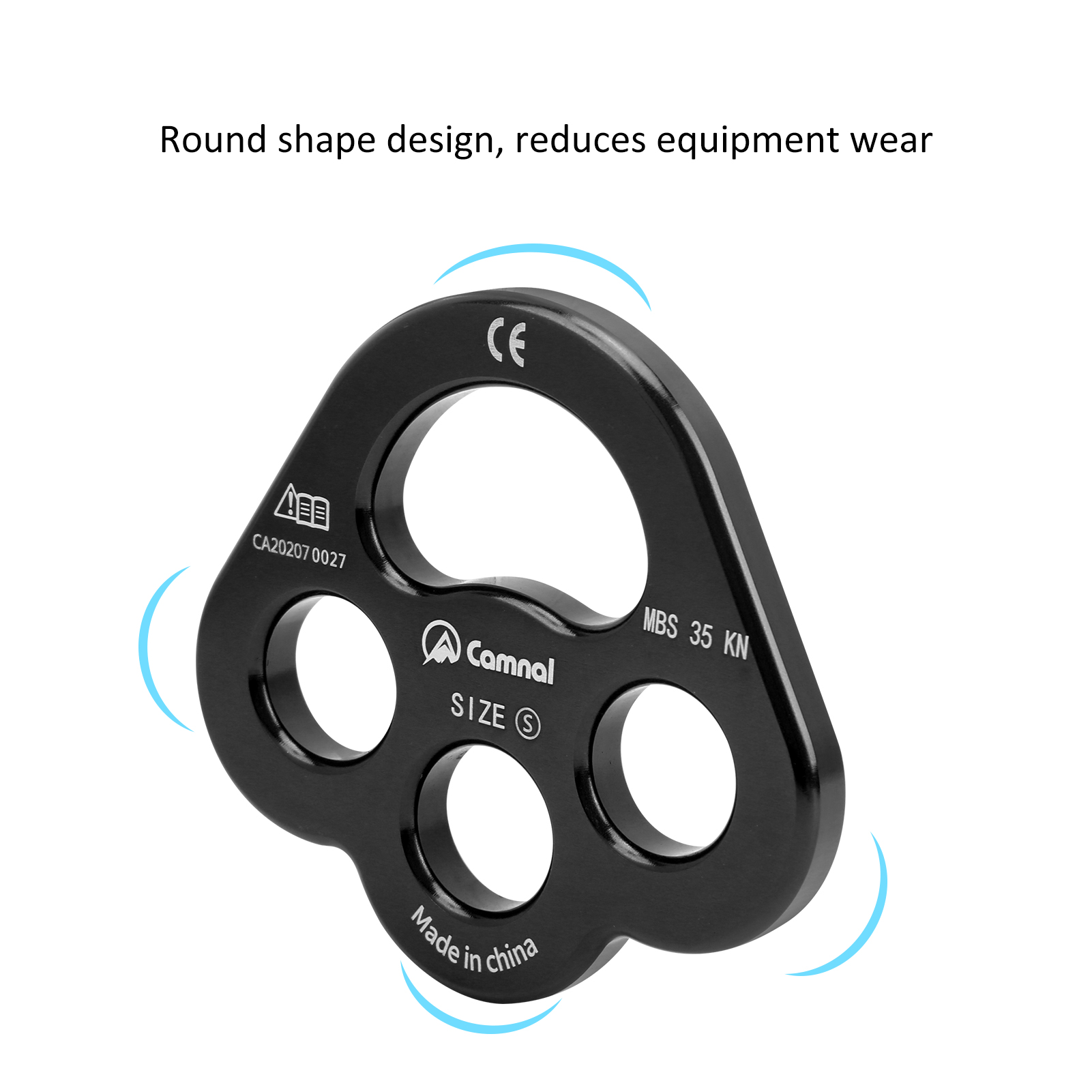 3 Holes Force Rigging Plate Alluminum Alloy Anchor Force Divider Finger Force Rock Climbing Rope Divide Equipment