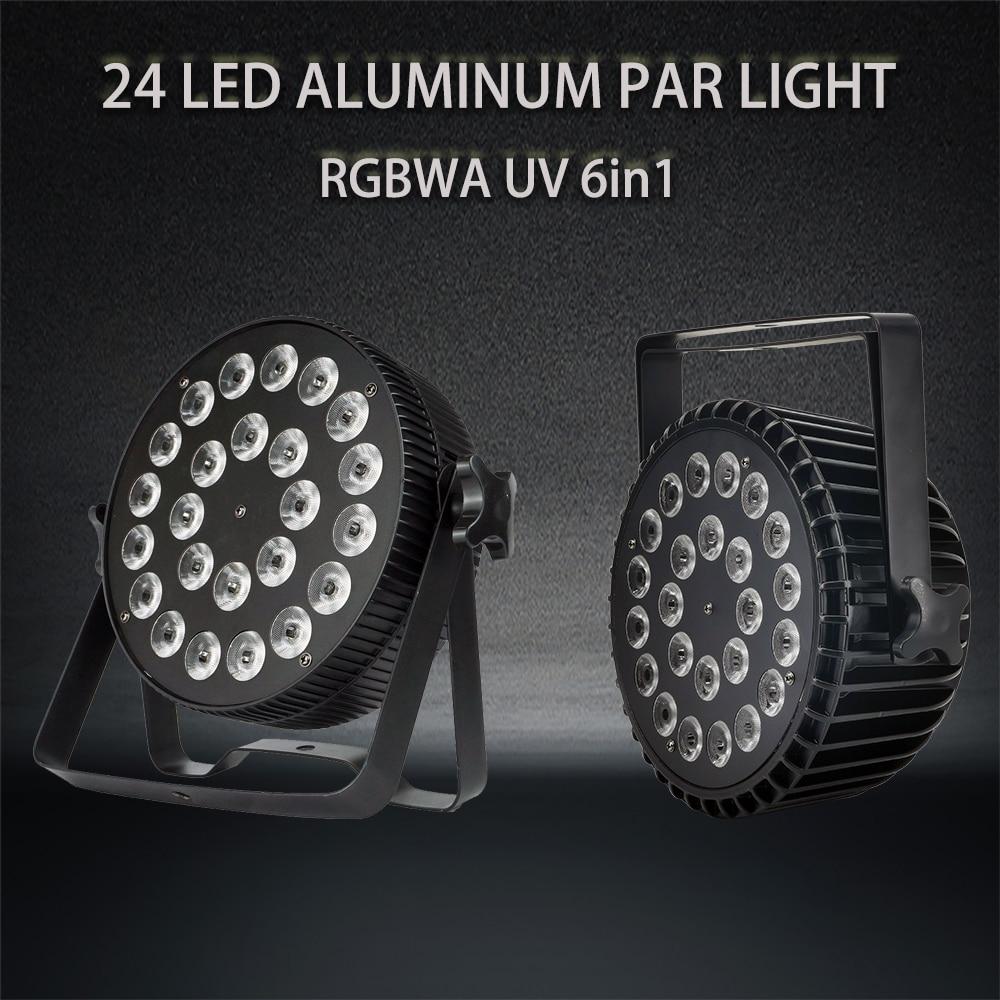 2 Pieces / 24x18w RGBWA UV 6in1 LED Par Light Aluminum Par Light DMX512 Professional Performance Lighting Equipment