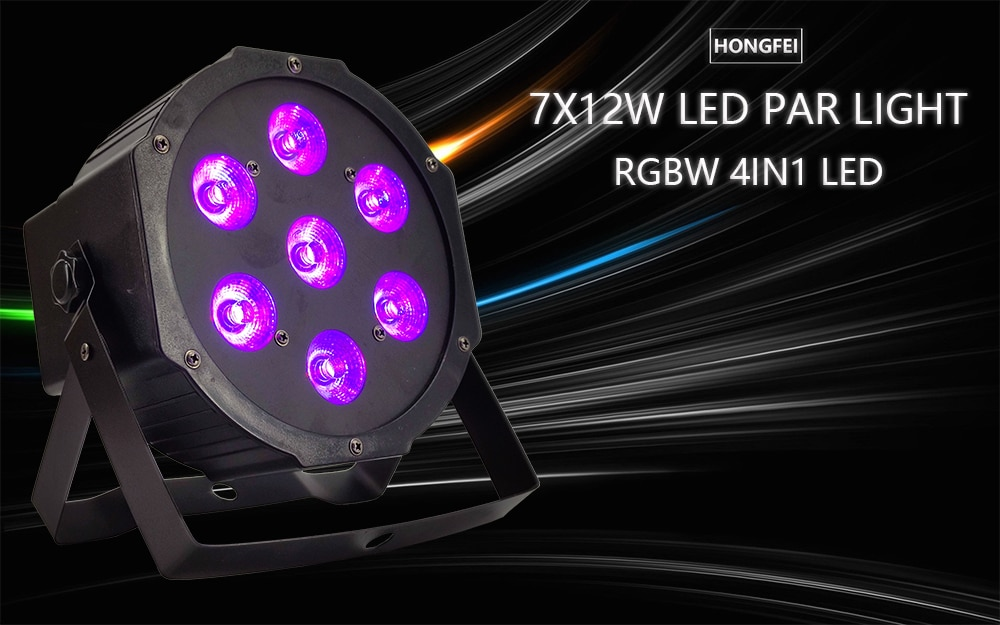 8pcs / 7X12W LED PAR light RGBW 4in1 flat par light dmx512 disco dj dyeing led lights