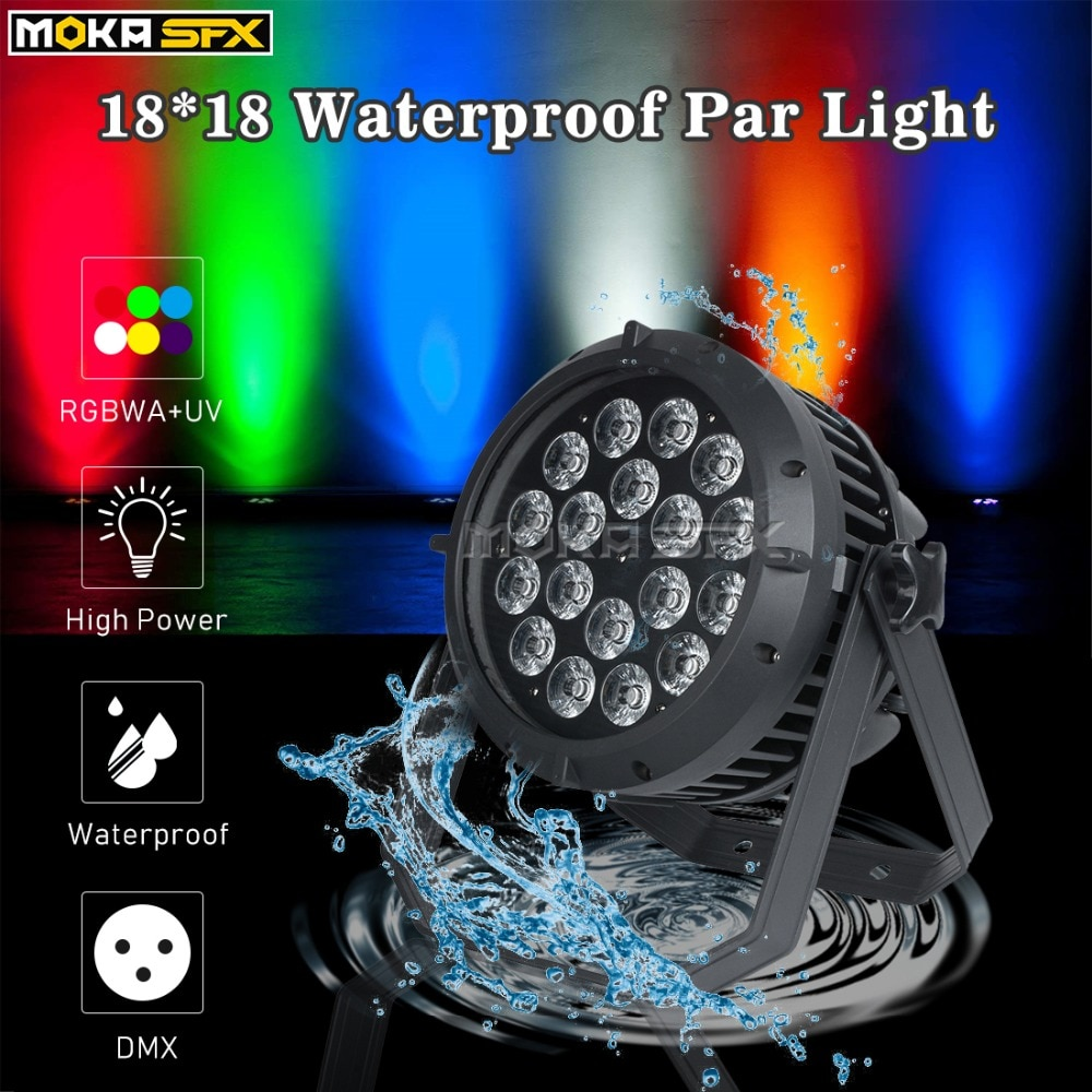 LED 18*18W Waterproof Par Light RGBWA+UV 6in1 Dj Light DMX Control Effect for Party KTV Stage Show Outdoor Disco Party Lights