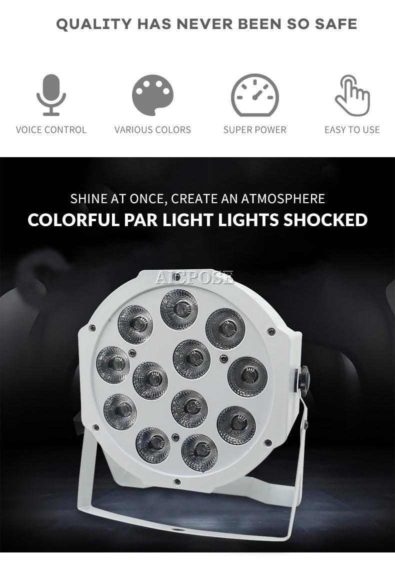 8pcs/lots 12x12w flat par led Flat White Led Par Light 12*12W Smooth RGBW Color Mixing DMX 4/8 Channels Stage Wash