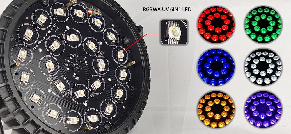 8 pieces / aluminum 24x18w RGBWA UV 6in1 LED Par light DMX512 dj dyeing par lights stage light