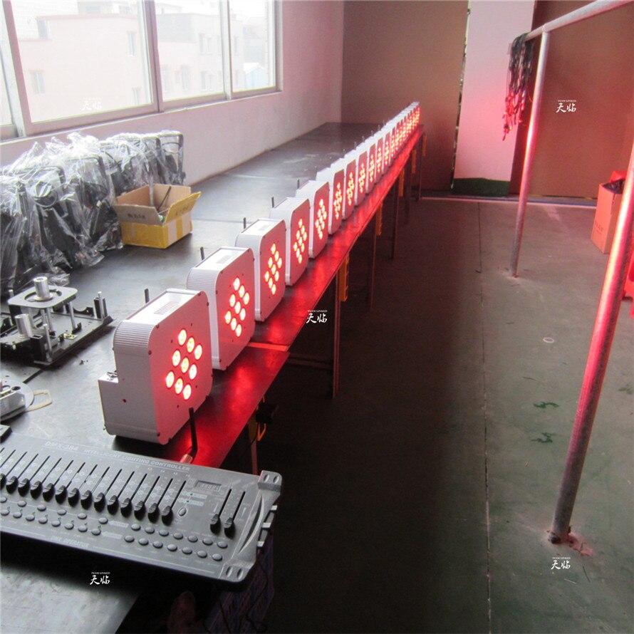 ( 10 pcs / lot ) Remote Control+ Wireless+ Battery LED Par  9*18W RGBWA+UV 6 in 1 LED Flat  Par Light with Flycase