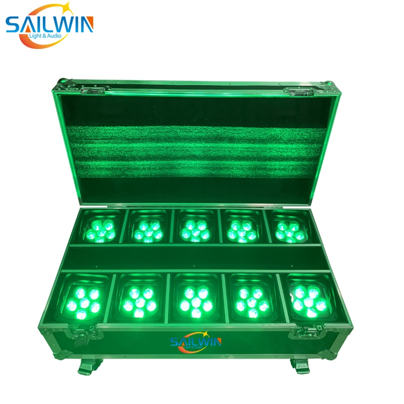 Sailwin 6X18W 6in1 RGBAW+UV Baattery Operated WIFI APP Mobile LED Par Can DJ UPLIGHT Stage Par Lights For Wedding With Flycase