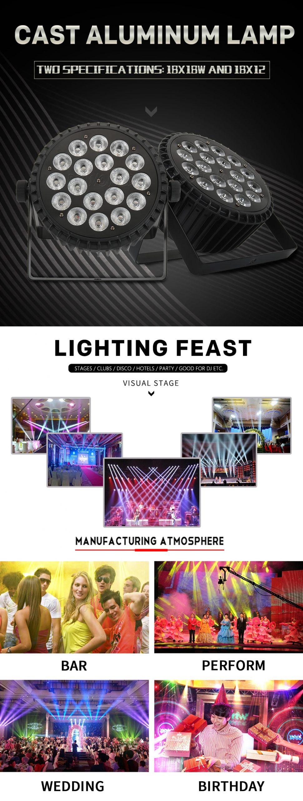 Djworld 2pcs/lots High Quality Aluminum Alloy LED Flat Par 18x18W RGBWA+UV DMX 512 Light DMX For Dj disco Party Stage