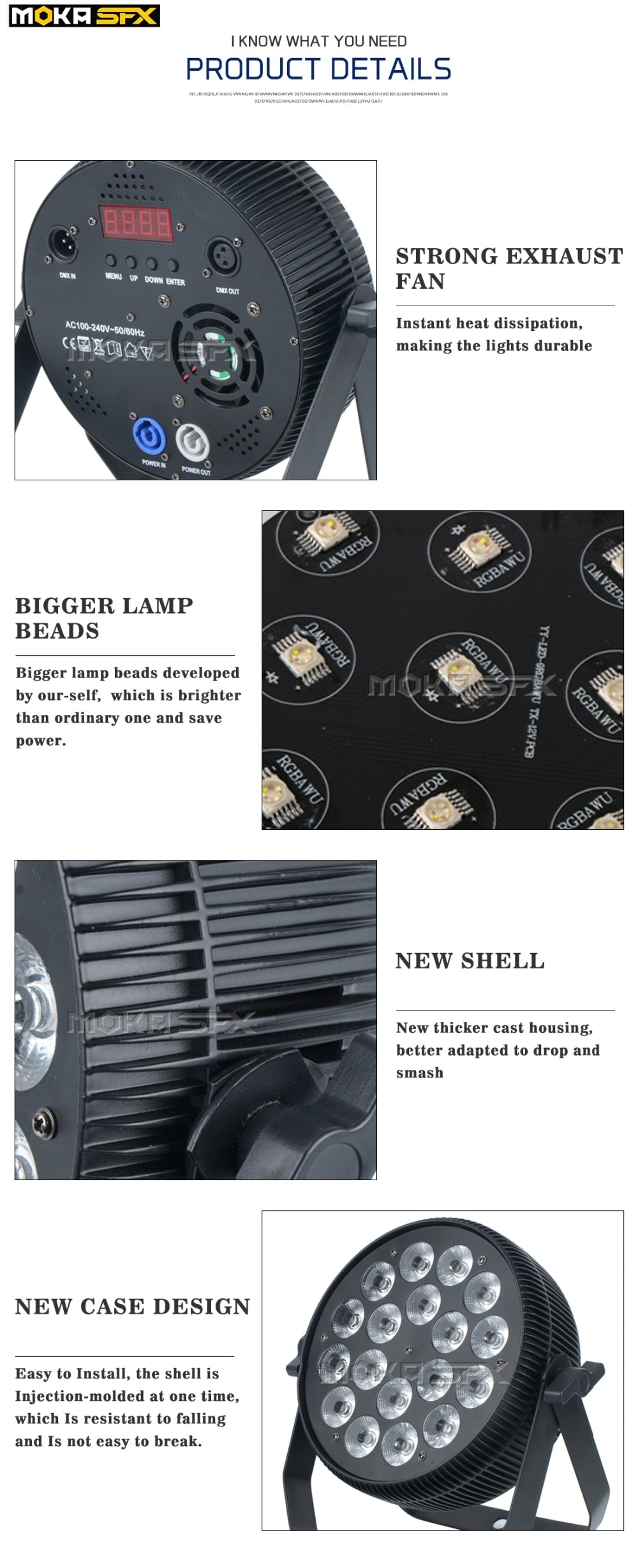 18*18W Par Can Light for Wedding RGBWA+UV Flat Dj Par Light Stage Effect 6in1 High Power Stage Light for Party Disco Light DMX