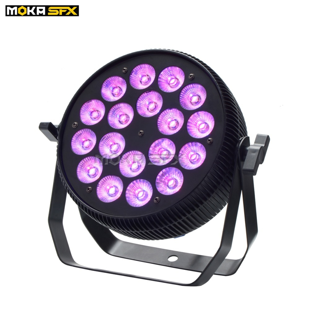 MOKA Light LED Stage Par Can Lighting 18x10W LCD Screen DMX Control Disco Light RGBW 4IN1 Par Light for Christmas Event Stage DJ