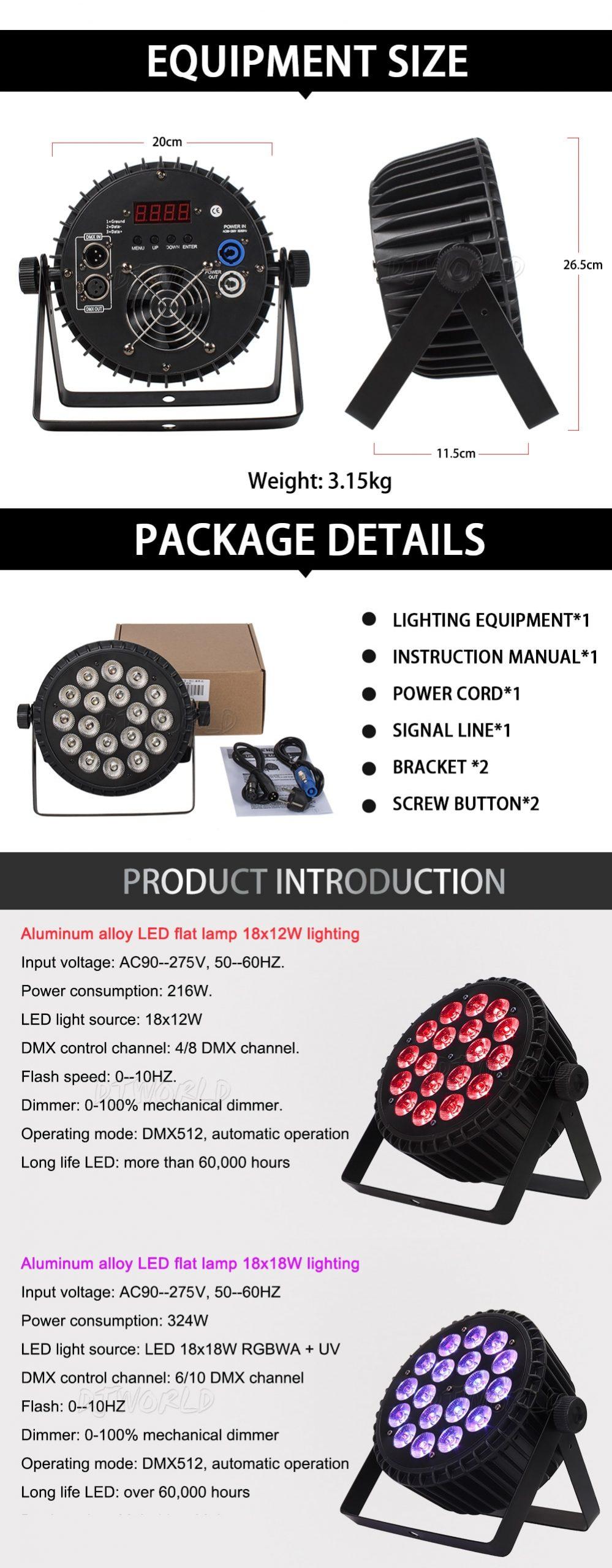 4pcs/lot Aluminum LED Par 18x18W/18x12W RGBWA+UV Light DMX 512 Control Stage Effect Lighting For Dj Disco Theater Party Lights