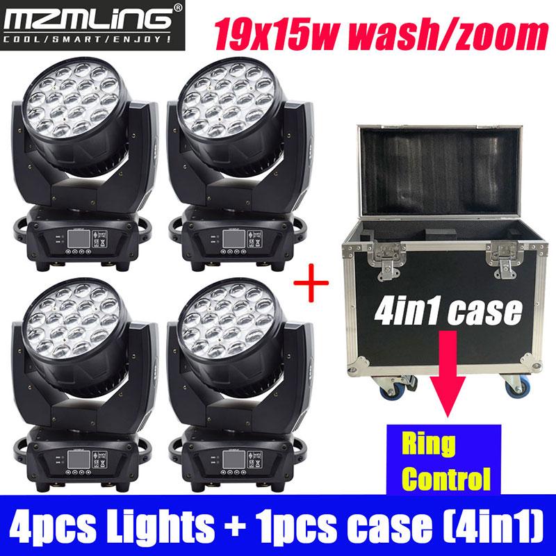 4PCS Lights + 1PCS Flight Case 19x15w RGBW 4in1 Wash/Zoom Light With Ring Control DMX512 Moving Head Light DJ/Bar Stage Light