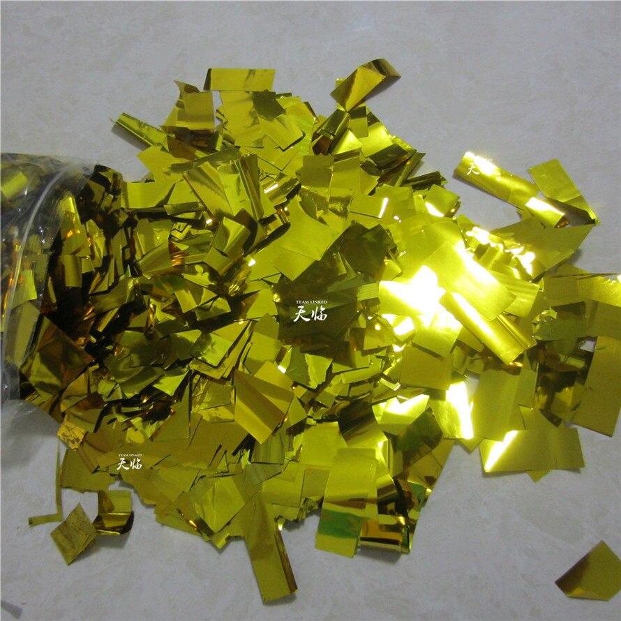 ( 20 KG / lot ) Rectangle Shape Color Optionable Golden / Silvery confetti paper for confetti cannon machine & Confetti Machine