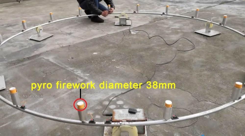 360 degree 4 diameters rotate big circle pyrotechnic fireworks firing system
