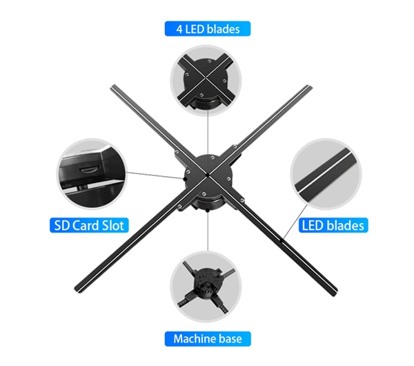 100CM 3D hologram projection LED fan advertising Light rotating air imaging suspension stereo Naked eye smart screen