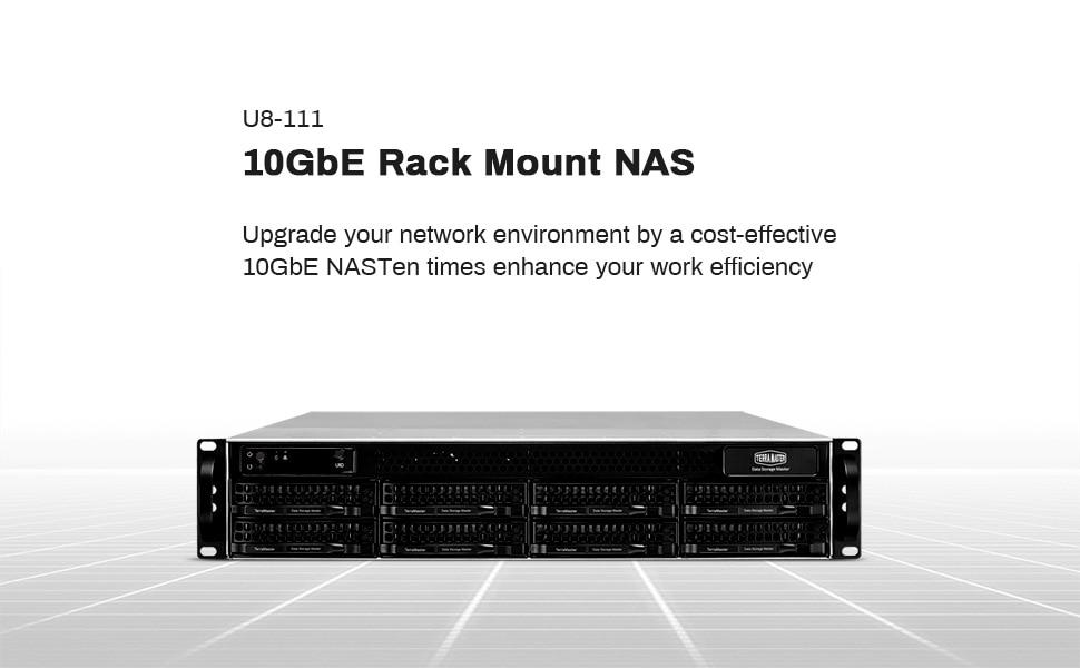 TerraMaster U8-111 10GbE NAS Rackmount 2U 8-bay Network Storage Server Intel Quad-core CPU with Hardware Encryption (Diskless) (
