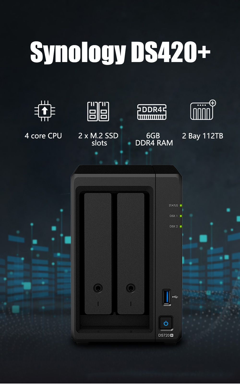 Synology DS720+ NAS 2 Bays Network Cloud Storage Server Diskless 2G RAM SATA3 NAS 3 Years Warranty