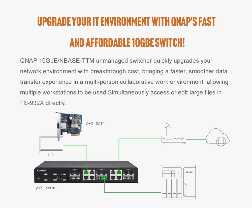 QNAP TS-932X  2G Memory 9-Bay Diskless Nas Server NFS Network Storage Cloud Storage 2 Years Warranty