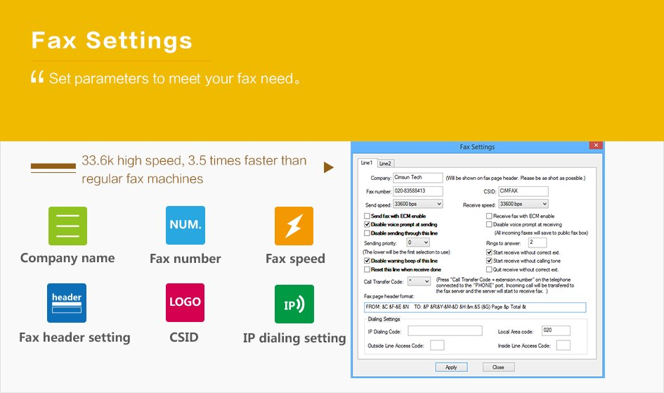 CimFAX C5S Fax Server Fax2email Fax from PC to Fax Machines/Server/Client/Online Fax 20 Users/4G storage
