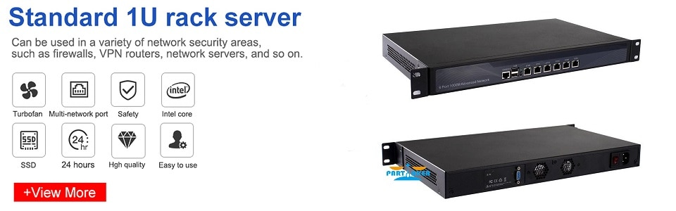 Partaker R3 Firewall Appliance Network Server with 6 Gigabyte LAN Intel Core i7 6500U Dual Core DDR4 8GB RAM 128GB SSD pfSense
