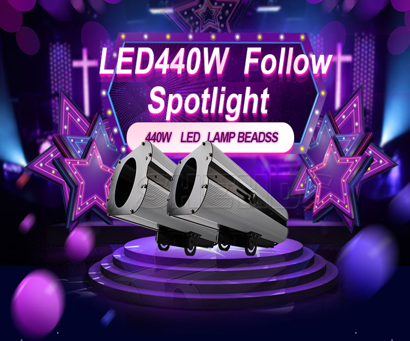 High Power LED 440W Follow Spotlight RGBWO 6IN1Manufacturing Focus Chasing Custom Pattern Suitable for Wedding Theater DJ Stage