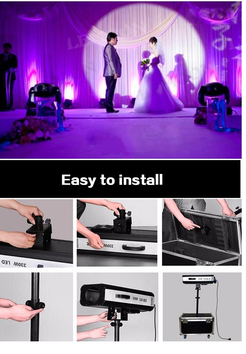2pcs 330w LED Follow Spot Light With Power LED Follow Tracker with Flight Case For Wedding stage light