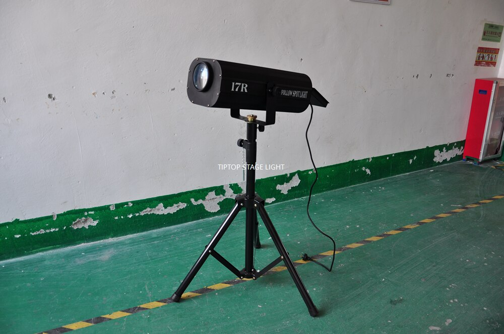 TIPTOP STAGE LIGHT 350W 17R Follow Spot Light with Tripod Road Case Packing RGBWA Color Wheel Zoom Focus Function Wedding Party